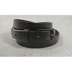 Ремень/пояс 20 мм 17300001 тонкий кожаный черный натуральная кожа Black Tortoise Россия
