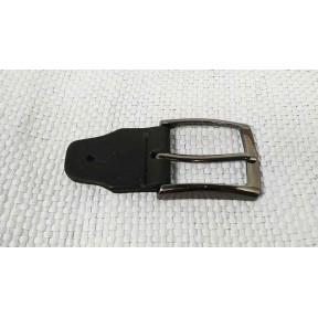 Фурнитура Пряжка 35 мм с кожаным фиксатором темный хром метал PRC