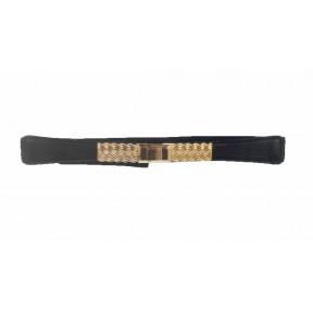 Ремень/пояс резинка 25 мм плетение серебристая пряжка черный иск. кожа PRC
