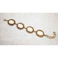 Браслет филигрань камни овалы 14-19 см золотисто- белый металл/пластик Китай