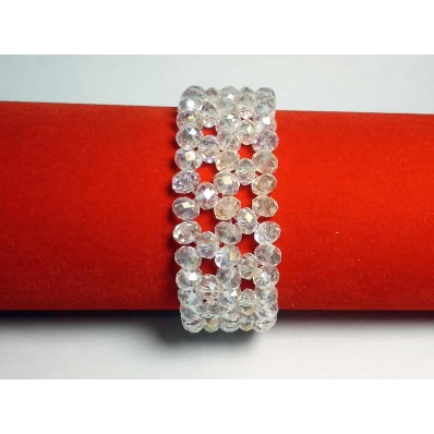 Браслет 22 мм 3 ряда плетеный белый хрусталь PRC