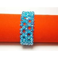 Браслет 22 мм 3 ряда плетеный бирюзовый хрусталь PRC