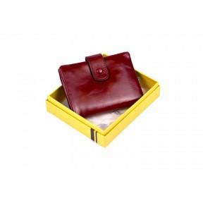 Кошелек отделения для монет, карт, купюр 12х10х2 см красный Натуральная кожа Ivorx