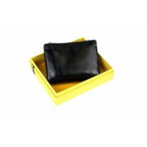 Кошелек отделения для монет, карт, купюр 10х11,5х2,5 см черный Натуральная кожа Ivorx
