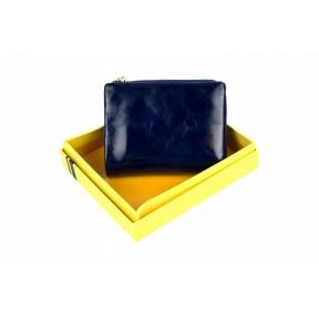 Кошелек отделения для монет, карт, купюр 10х11,5х2,5 см синий Натуральная кожа Ivorx