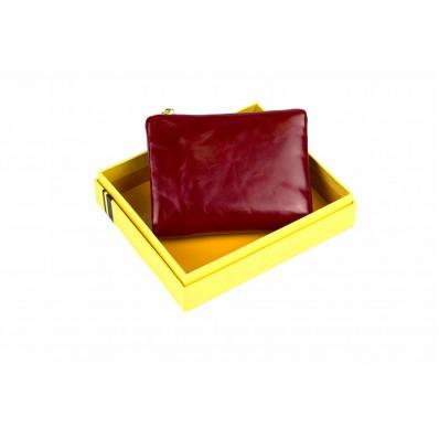 Кошелек отделения для монет, карт, купюр 10х11,5х2,5 см красный Натуральная кожа Ivorx