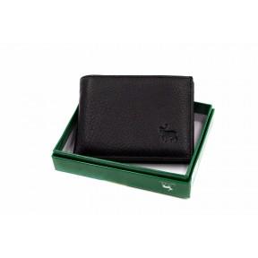 Портмоне отделения для монет, карт, купюр, зажим для денег 11х8х2,5см черный натуральная кожа Marco Coverna
