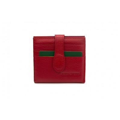 Кошелек отделения для монет, карт, купюр 10х10,5х2см красный Натуральная кожа Marco Coverna