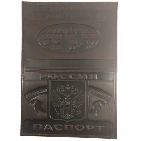 Обложка на паспорт с кожаными полями с рисунком, ручная работа коричневый Натуральная кожа Россия