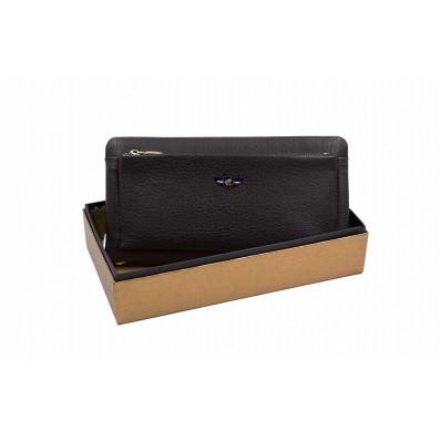 Клатч отделение для монет на молнии снаружи, отделения для карт 22х11х3 см коричневый Натуральная кожа Cosset PRC