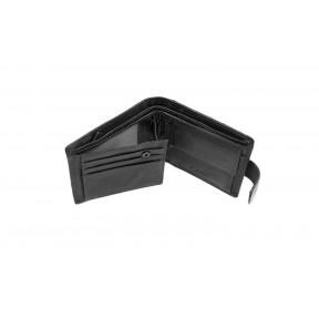 Портмоне отделения для монет, карт, пропуска и купюр  13х9,5х2,5 см черный натуральная кожа Fani