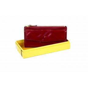 Клатч отделения для купюр, карт, монет снаружи. 19х10х2 входит сотовый телефон красный Натуральная кожа Ivorx