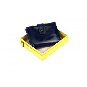 Кошелек отделения для монет, карт, купюр 12х10х2 см синий Натуральная кожа Ivorx