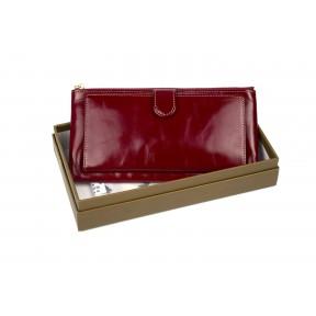 Кошелек отделения для монет, карт, купюр 19х10х2 см красный Натуральная кожа Ivorx