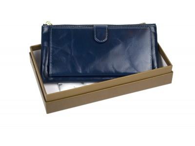 Кошелек отделения для монет, карт, купюр 19х10х2 см темн. синий Натуральная кожа Ivorx