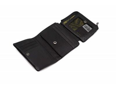 Кошелек очень маленький, отделения для монет на молнии, карт, купюр 11х9х2 см черный Натуральная кожа Ivorx