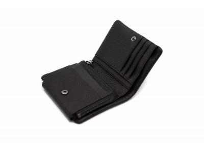 Портмоне маленький, отделения для монет на молнии, карт, купюр 11х9х2 см черный Натуральная кожа Ivorx