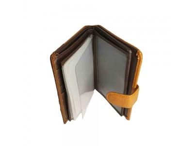 Бумажник/автодок. отделение для паспорта, монет, карт 10х13х2 рыжий комб. кожа no name
