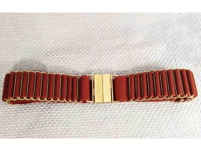 Ремень/пояс резинка 35 мм для платья бордовый комб. кожа Dm.R. Россия 75см(р)