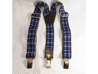 Подтяжки детские клечатые ширина 25 мм от 3-х до 6-7 лет синий текстиль baby braces Китай