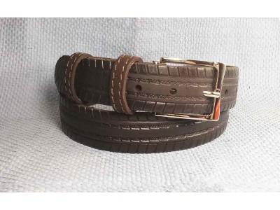 Ремень 35 мм рисунок по полотну ремня коричневый натуральная кожа Викинг Россия 120 см(р)