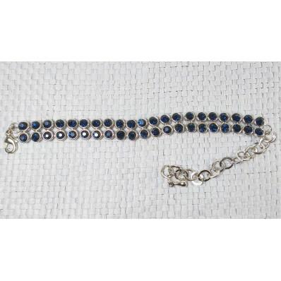 Браслет браслет вкточка с жемчужинами - бусинами общ. дл. темн. синий метал/стразы DR 20 см(р)