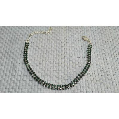 Браслет 2 ряда ширина 4 мм тонкий вечерний зелёный стекло DR