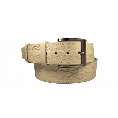 Ремень 50 мм мужской (портупея) бежевый Натуральная кожа Россия 125 см(р)
