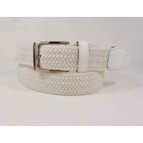 Ремень резинка плетеный 35 мм белый текстиль PRC