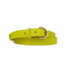 Ремень/пояс 20 мм 20 мм прошит желто-зеленый натуральная кожа GEM Россия