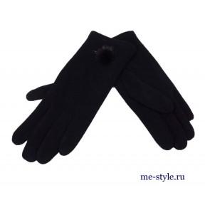 Перчатки текстильные 3 строчки и мех черн. Китай