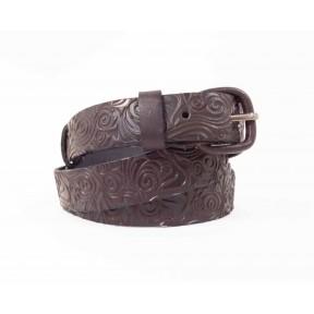 Ремень гипоаллергенная пряжка обтянутая кожей 25 мм узор темн. коричневый натуральная кожа NewStyle Россия