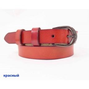 Ремень/пояс 25 мм темная пряжка с цветами красный натуральная кожа с покрытием PRC