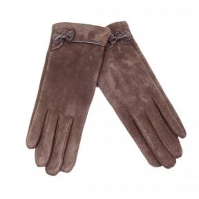 Перчатки текстильные бантик коричневый иск. замша Россия
