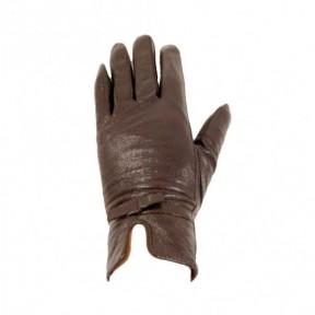 Перчатки кожаные Бантик темн. коричневый натуральная кожа Китай
