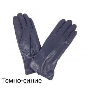 Перчатки кожаные гладкие темн. синий натуральная кожа Китай