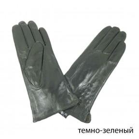 Перчатки кожаные шнурок темн. зеленый натуральная кожа Китай