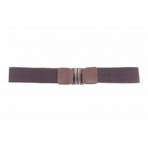 Ремень/пояс резинка 40 мм темн. коричневый иск. кожа PRC