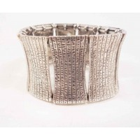 Браслет 4 см пластинки серебряный металл Корея 5х6 см(р)