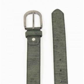 Ремень/пояс 35 мм -33 мм прошит зелёный иск. кожа Китай