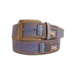 Ремень/пояс 40 мм джинсовая ткань + лейба синий иск. кожа PRC