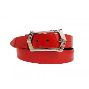 Ремень/пояс 35 мм 35 мм лак красный натуральная кожа Dnka Россия
