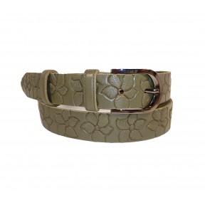 Ремень/пояс 35 мм цветы по полотну ремня серый натуральная кожа Belt Premium Россия