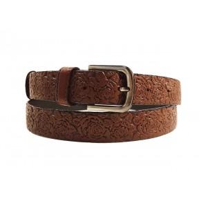 Ремень/пояс 25 мм 25 мм розы коричневый натуральная кожа Belt Premium Россия