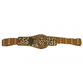 Ремень/пояс резинка 25-40 мм леопардовый рыжий иск. кожа Китай