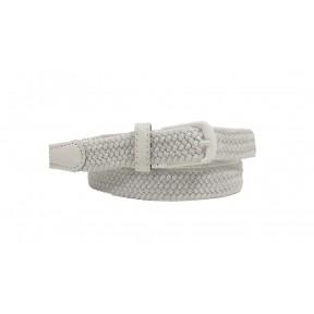 Ремень резинка плетеный 25 мм белый иск. кожа Китай