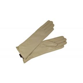 Перчатки кожаные гладкие средней дл 30 см бежевый натуральная кожа Китай